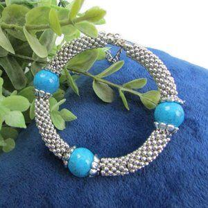 Jewelry - Turquoise Beaded Silver Bracelet